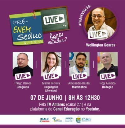 Seduc promove 7ª Revisão Pré-Enem Live no domingo (7)