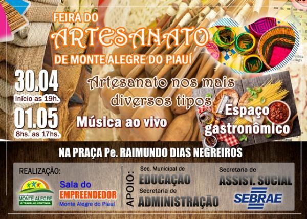 Feira do Artesanato será realizada em Monte Alegre nos dias 30 de abril e 01 de maio.
