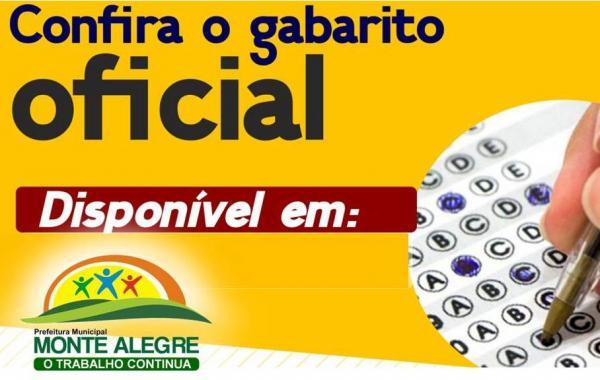Resultado: GABARITO OFICIAL - Concurso público de Monte Alegre do Piauí