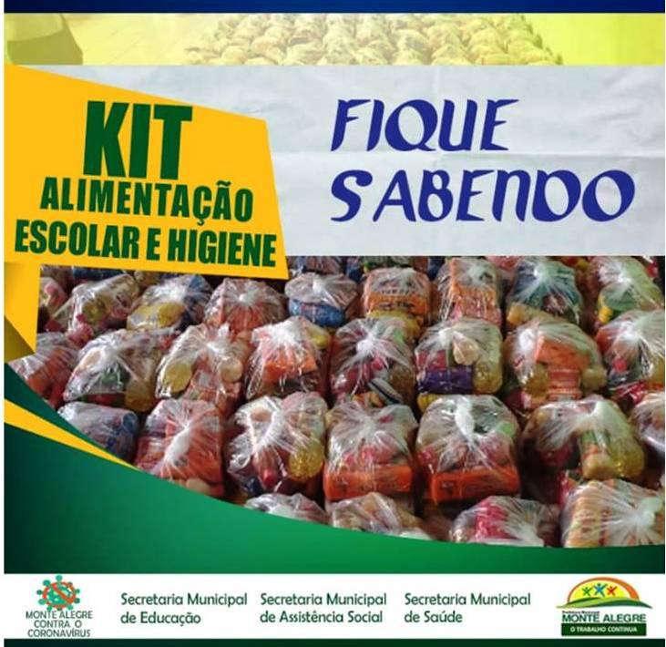 Prefeitura de Monte Alegre fará distribuição de kits alimentações e higiene